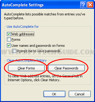 Click Clear Forms and Clear Passwords