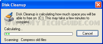 Disk Cleanup Tool scanning