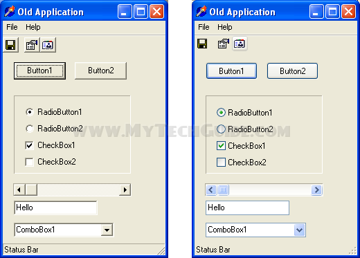 Old application in old and new style