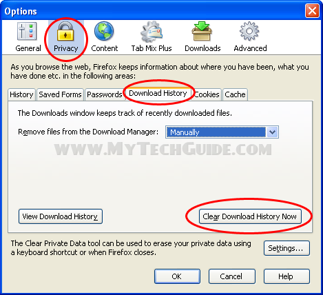 Clear download history in Firefox