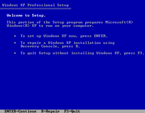 Windows XP setup repair